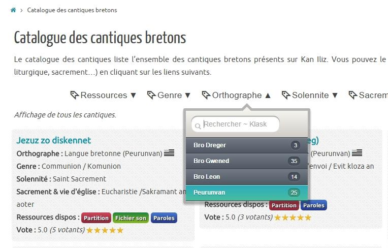Catalogue des cantiques bretons de Kan Iliz.